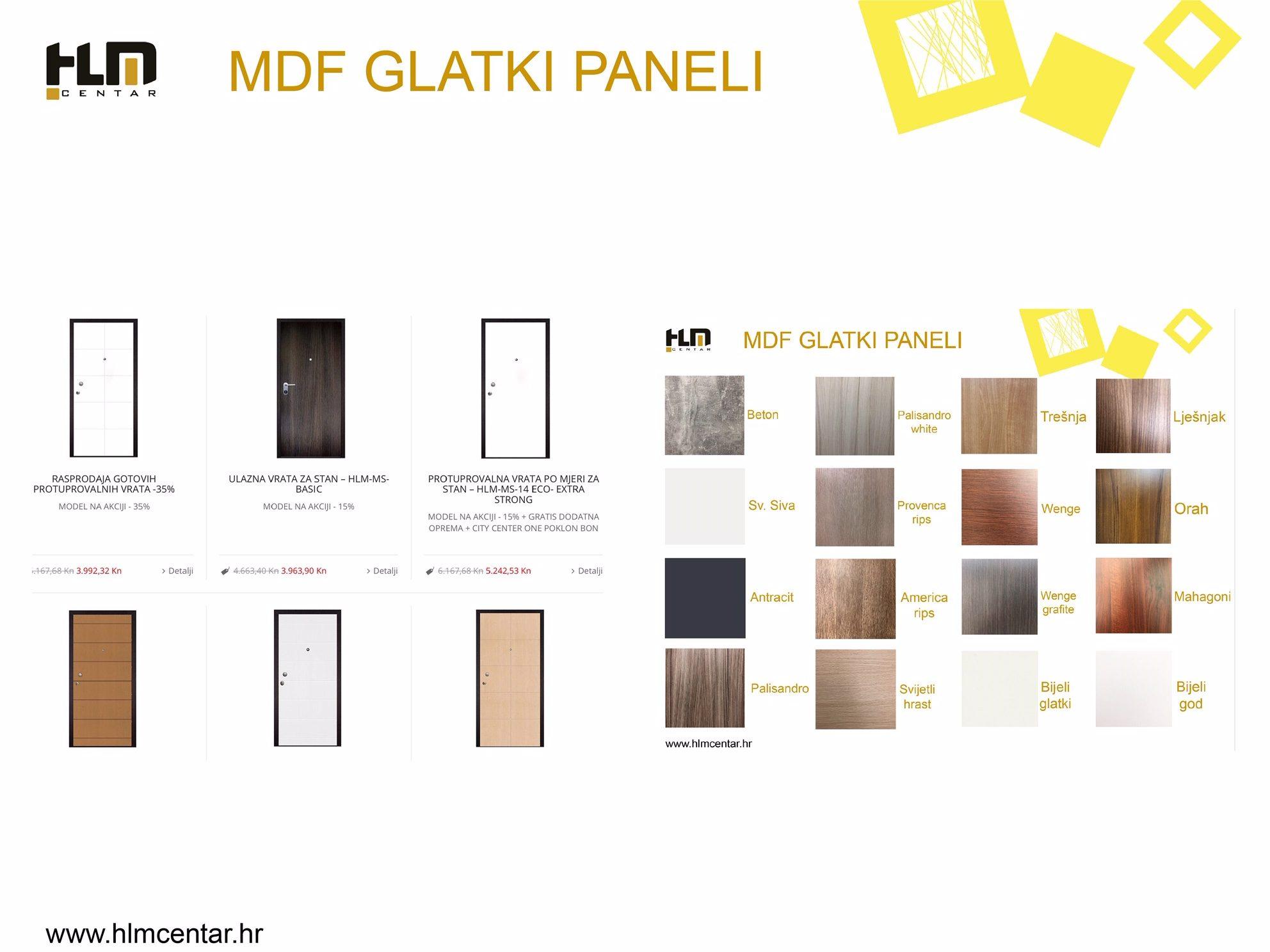 Paleta boja MDF glatkih panela