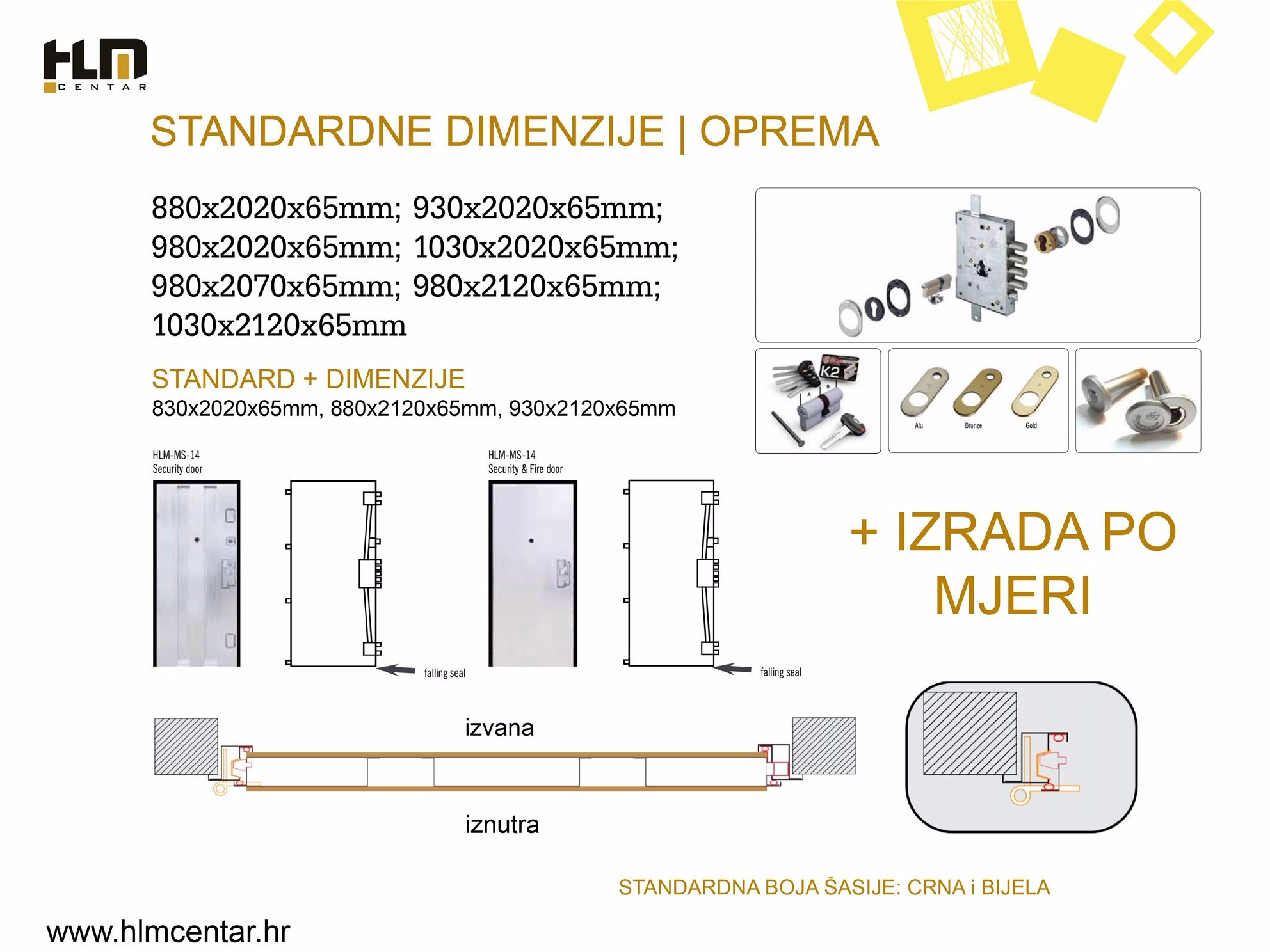 Standardne dimenzije i oprema