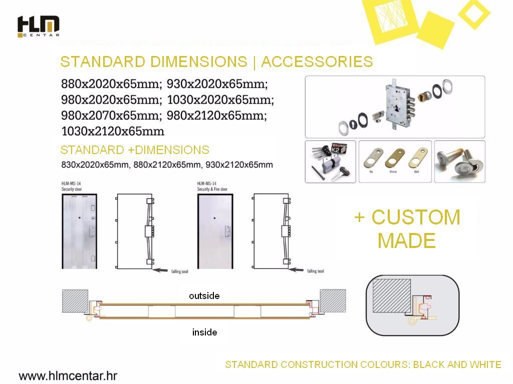 Standard dimensions and accessories